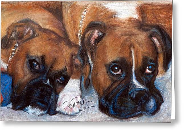 Boxer Buddies Greeting Card