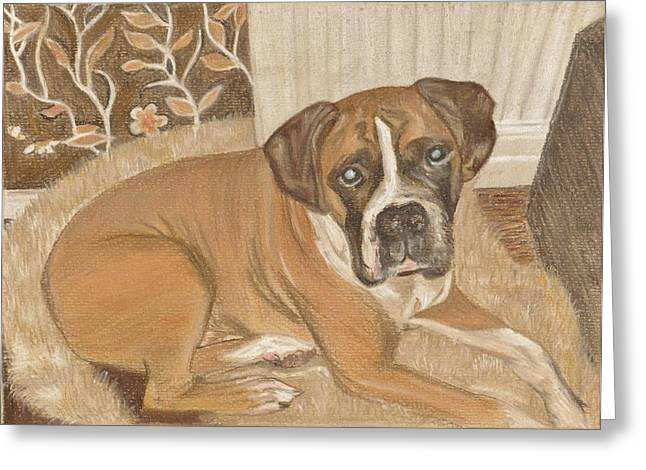 Boxer Dog George Greeting Card by Faye Symons