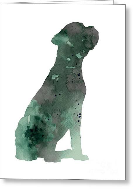 Boxer Figurine Painting Watercolor Art Print Greeting Card