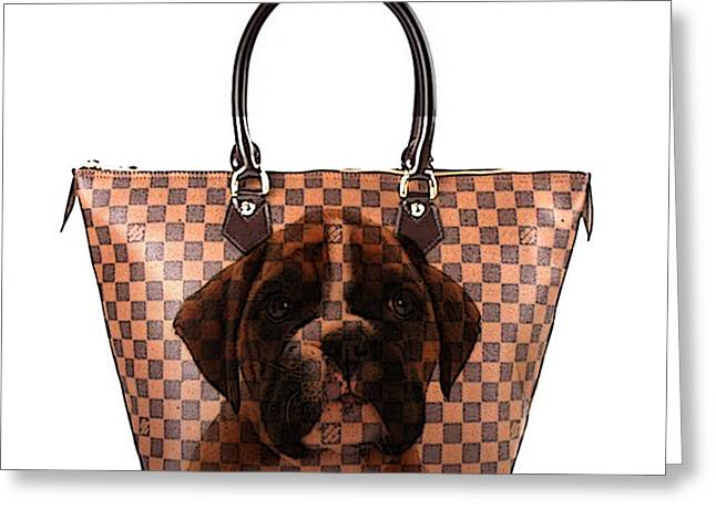 Boxer Pup Hand Bag Painting Greeting Card by Marvin Blaine