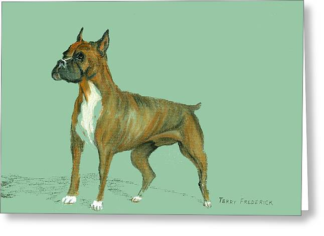 Greeting Card featuring the pastel Boxer by Terry Frederick