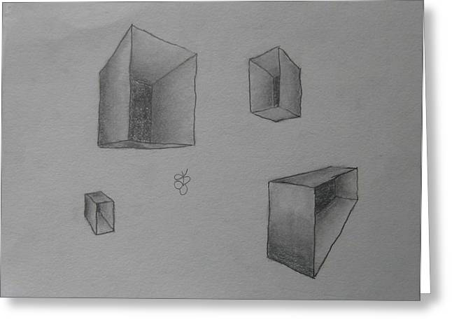 Greeting Card featuring the drawing Boxes by AJ Brown
