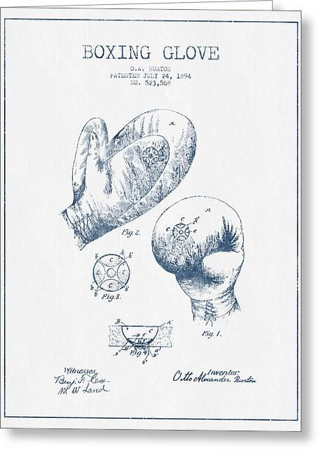 Boxing Glove Patent Drawing From 1894  -  Blue Ink Greeting Card