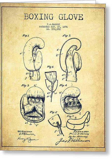 Boxing Glove Patent Drawing From 1896 - Vintage Greeting Card by Aged Pixel