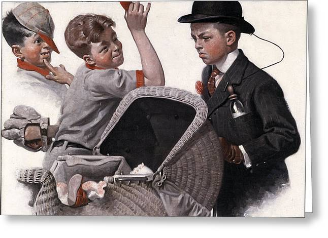 Boy And A Baby Carriage By Norman Rockwell Greeting Card by Georgia Fowler