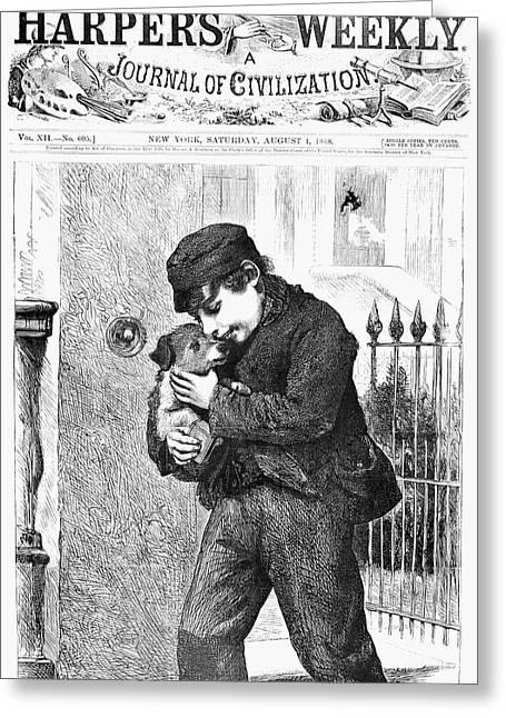 Boy And Dog, 1868 Greeting Card