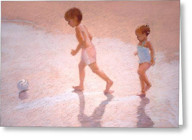 Boy And Girl W/ball Greeting Card by J Reifsnyder