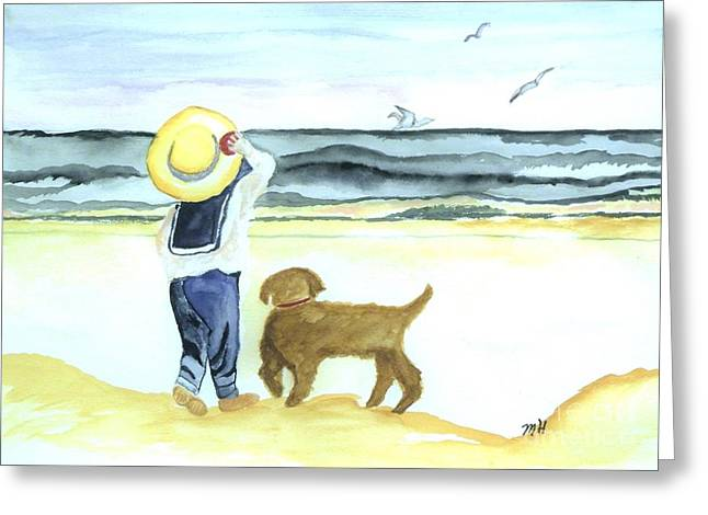 Boy And His Dog Greeting Card by Marsha Heiken