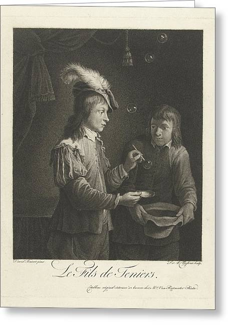 Boy Blowing Bubbles, Lambertus Antonius Claessens Greeting Card