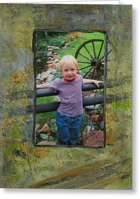Boy By Fence Greeting Card