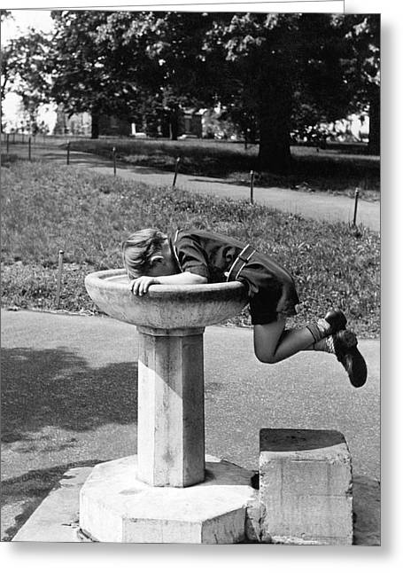 Boy Drinking From Fountain Greeting Card