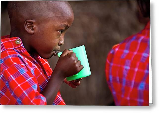 Boy Drinking Greeting Card by Matthew Oldfield