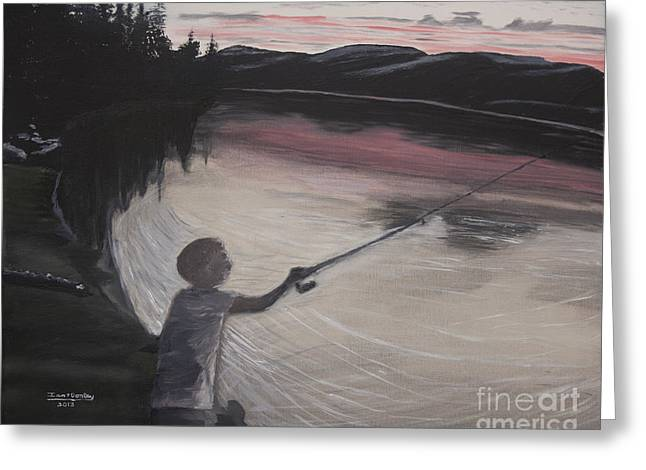 Boy Fishing And Sunset Greeting Card