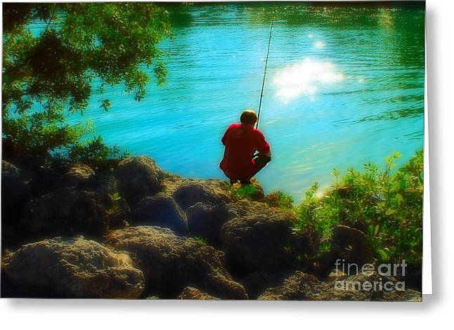 Boy Fishing Greeting Card by Andres LaBrada