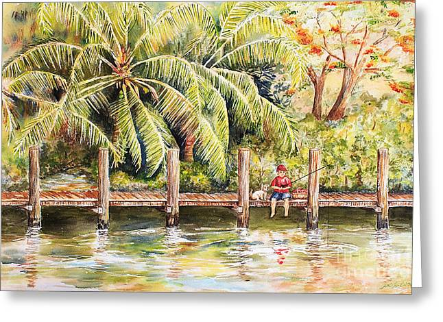 Boy Fishing With Dog Greeting Card