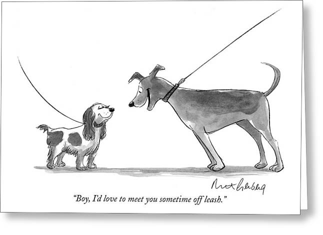 Boy, I'd Love To Meet You Sometime Off Leash Greeting Card by Mort Gerberg