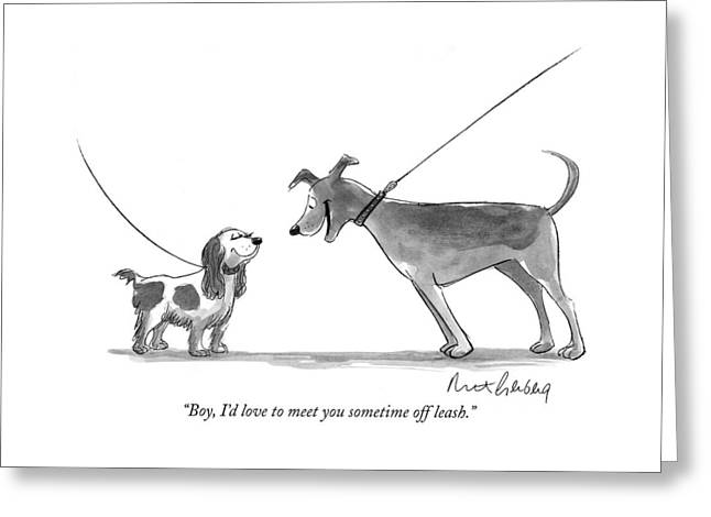 Boy, I'd Love To Meet You Sometime Off Leash Greeting Card