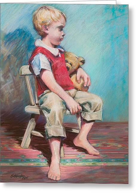 Boy In Chair Greeting Card by Beverly Amundson