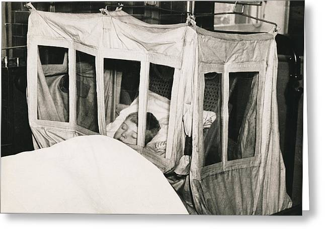 Boy In Oxygen Tent Greeting Card by Underwood Archives