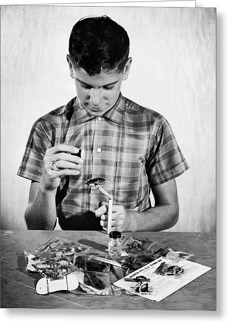 Boy Learning To Tie Flies Greeting Card