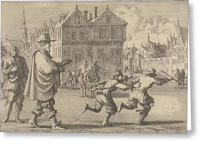 Boy Offends The Mayor Of Strasbourg By Stealing The Stick Greeting Card by Jan Luyken And Pieter Van Der Aa I