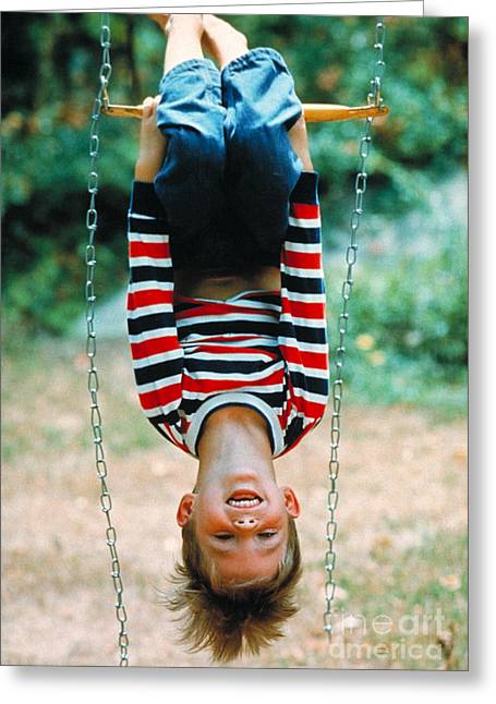 Boy On A Swing Greeting Card by Suzanne Szasz