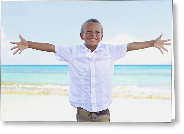 Boy On Beach Greeting Card by Kicka Witte