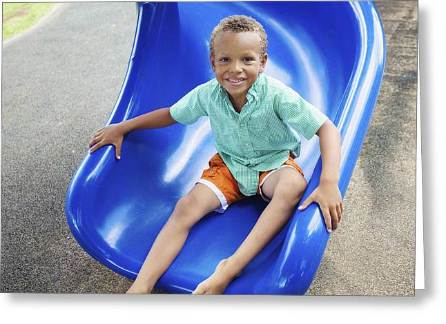 Boy On Slide Greeting Card by Kicka Witte