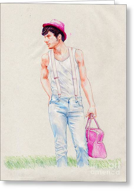 Boy On The Edge Of A Road Greeting Card by Line Arion