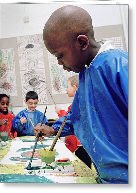 Boy Painting At School Greeting Card