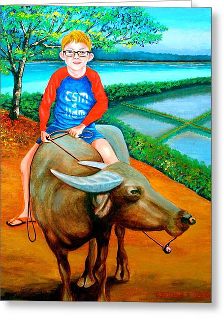 Boy Riding A Carabao Greeting Card