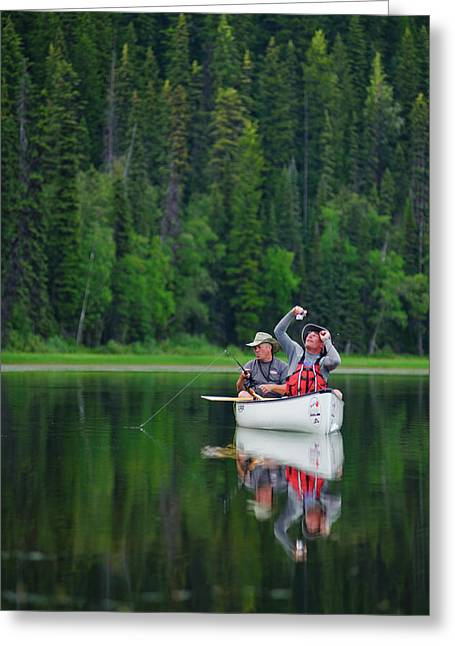 Boy Scouts Canoeing On The Bowron Lakes Greeting Card