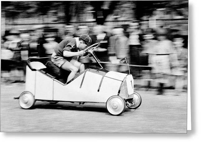 Boy Scouts Soap Box Derby, 1955 Greeting Card by British School