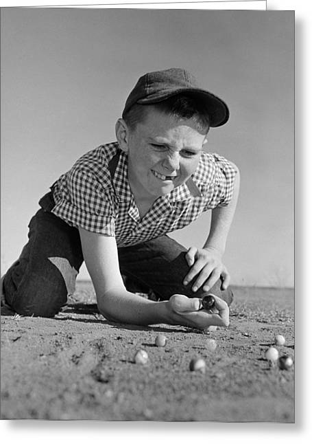 Boy Shooting Marbles, C.1950-60s Greeting Card