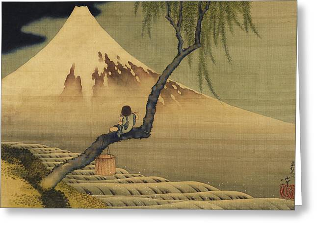 Boy Viewing Mount Fuji Greeting Card