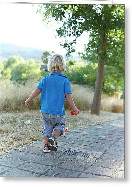 Boy Walking On Path Greeting Card by Ruth Jenkinson