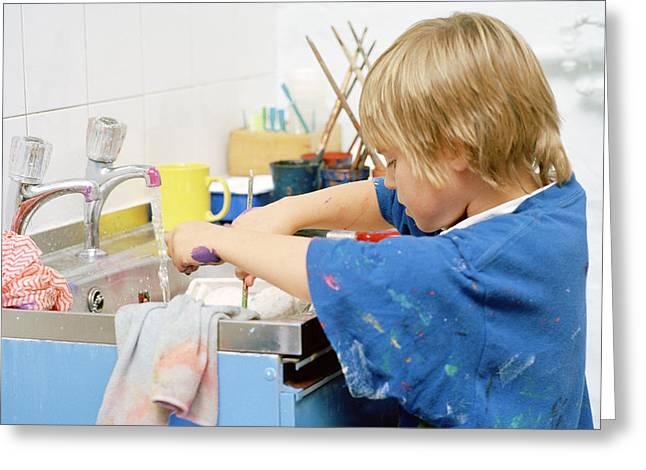 Boy Washing His Hands Greeting Card