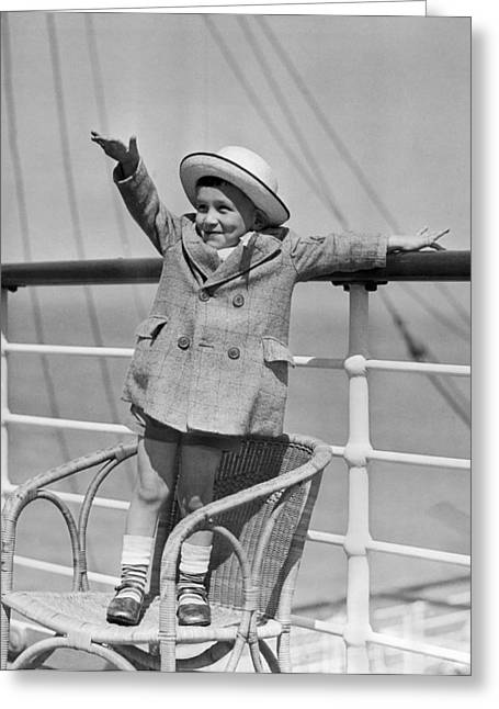 Boy Waving On Ocean Liner Greeting Card by Underwood Archives