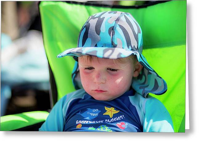 Boy Wearing A Sun Hat And Uv Clothing Greeting Card by Samuel Ashfield