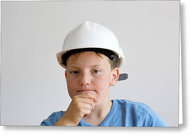 Boy Wearing Hard Hat Greeting Card by Gombert, Sigrid