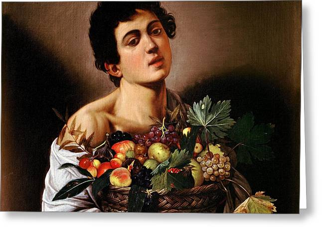 Boy With A Basket Of Fruit Greeting Card