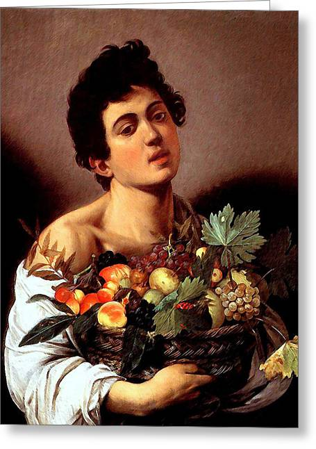 Boy With A Basket Of Fruits Greeting Card