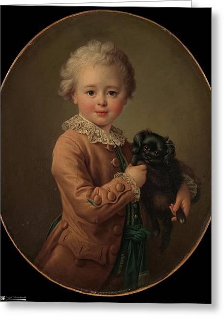 Boy With A Black Spaniel Greeting Card