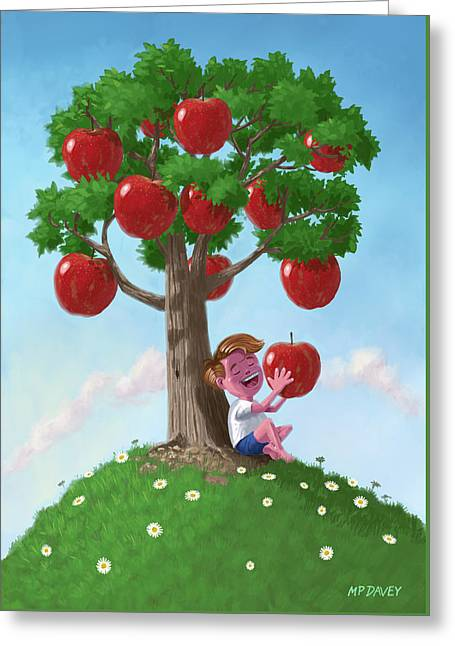 Boy With Apple Tree Greeting Card by Martin Davey