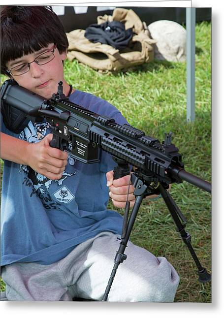 Boy With Automatic Rifle Greeting Card by Jim West