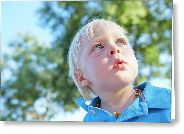 Boy With Blonde Hair Looking Away Greeting Card by Ruth Jenkinson