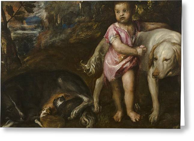 Boy With Dogs In A Landscape Greeting Card by Titian