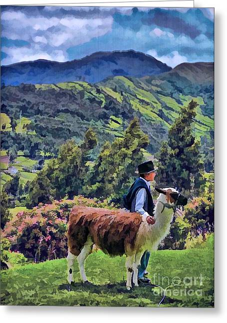 Boy With Llama  Greeting Card
