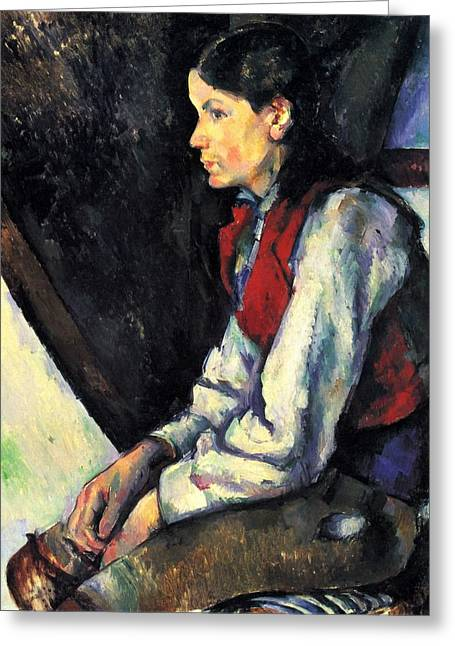 Boy With Red Vest By Cezanne Greeting Card