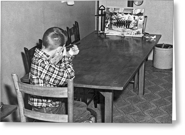 Boy With Shooting Game Greeting Card